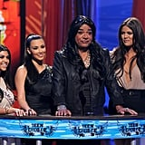 Kim, Kourtney and Khloé Kardashian participated in a spoof with George Lopez while on stage at the Teen Choice Awards in LA in August 2010.