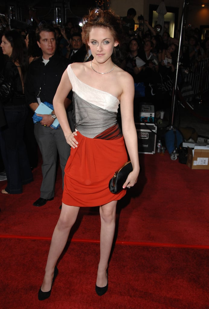 Flashing a little color in a red-skirted Balenciaga at the Twilight premiere in LA.