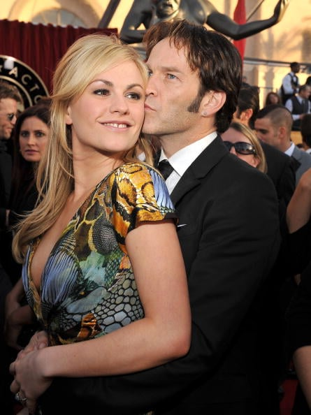 Stephen Moyer snuck a kiss at the the Screen Actors Guild Awards in January 2010.