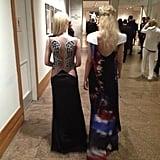 Dakota and Elle Fanning showed off the backs of their Rodarte gowns. Source: Instagram user officialrodarte