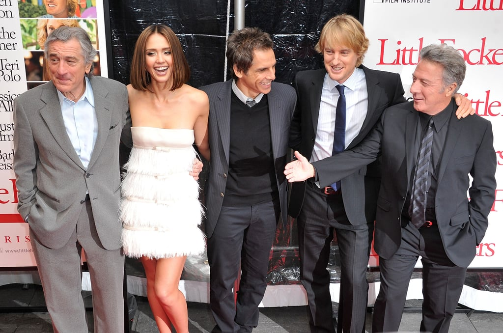 Jessica Alba had more than her fair share of male company on the red carpet last night at the NYC premiere of Little Fockers with costars Owen Wilson, Ben Stiller, Robert De Niro, and Dustin Hoffman. She's a new addition to the franchise, which also consists of Meet the Parents and Meet the Fockers. It was a family affair for leading man Ben, as his parents, Jerry Stiller and Sex and the City's Anne Meara, joined him for the screening. Sexy lady Jessica, meanwhile, flaunted her brand-new short hair while posing with her husband, Cash Warren, who was evidently a big fan of her look. It was the latest press event for busy Owen, after he spent the last few weeks promoting How Do You Know with interviews and photo ops with Reese Witherspoon.