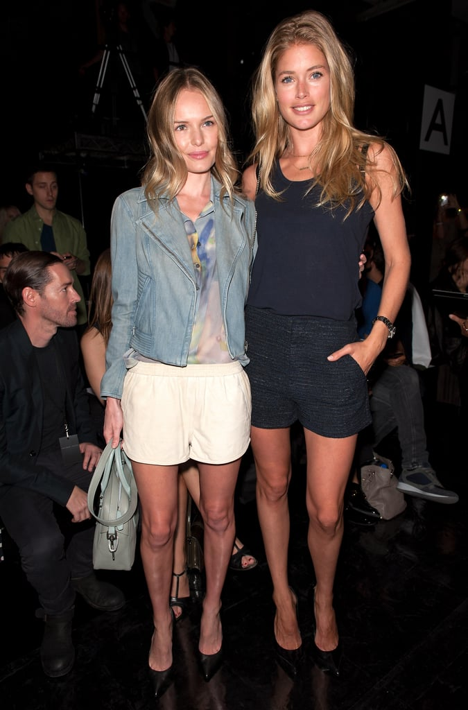 Kate Bosworth and Doutzen Kroes played it cool and casual in the front row at Theyskens' Theory.