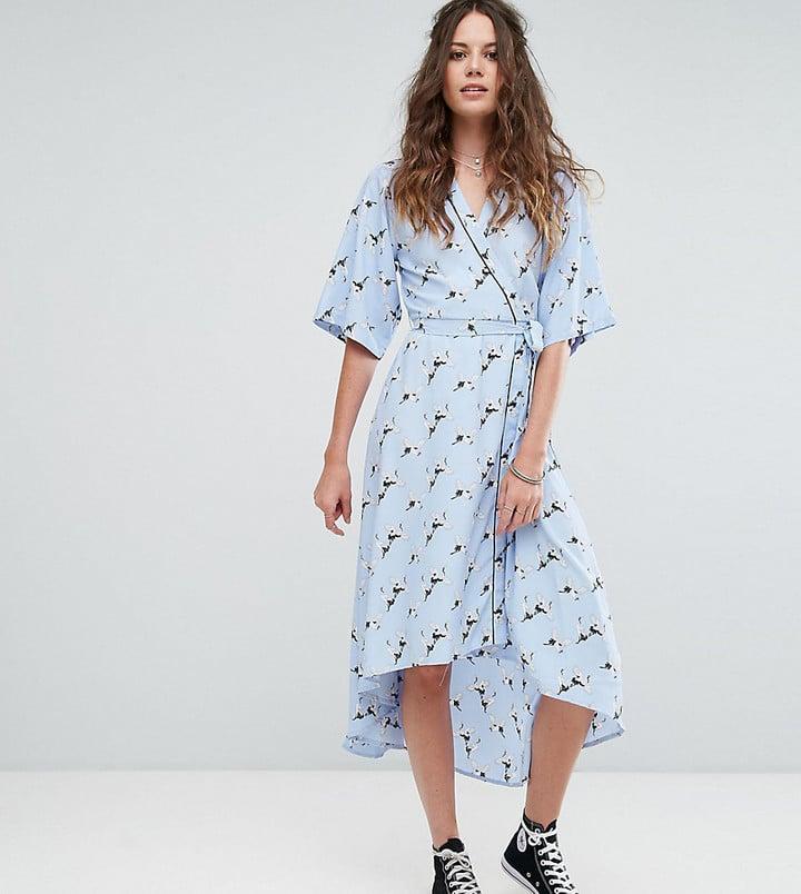 Glamorous Tall Wrap Front Pajama Style Dress In Bird Print