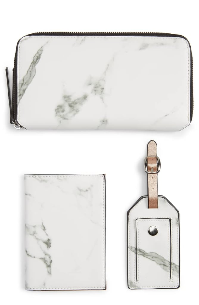 Violet Ray New York 3-Piece Marbled Travel Wallet Set