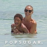 Heidi Klum played with her son in the ocean.