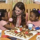 She looked genuinely interested while speaking to these two little girls during her April visit to the Naomi Children's Hospice in England.
