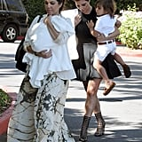 Kim and Kourtney Kardashian took Mason and Penelope Disick to church in LA Sunday.