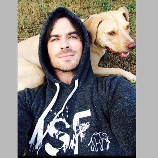 Ian Somerhalder cozied up with his dog. Source: Instagram user iansomerhalder