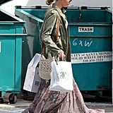 Jennifer Lawrence had her hair pulled back as she ran errands in LA.