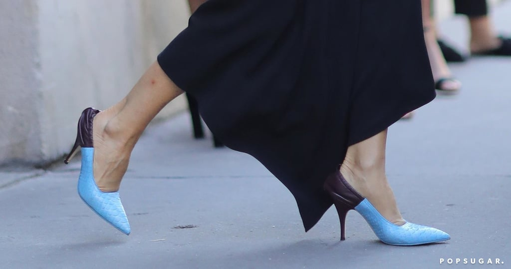 Victoria Beckham Black Dress And Blue Heels In Paris Popsugar