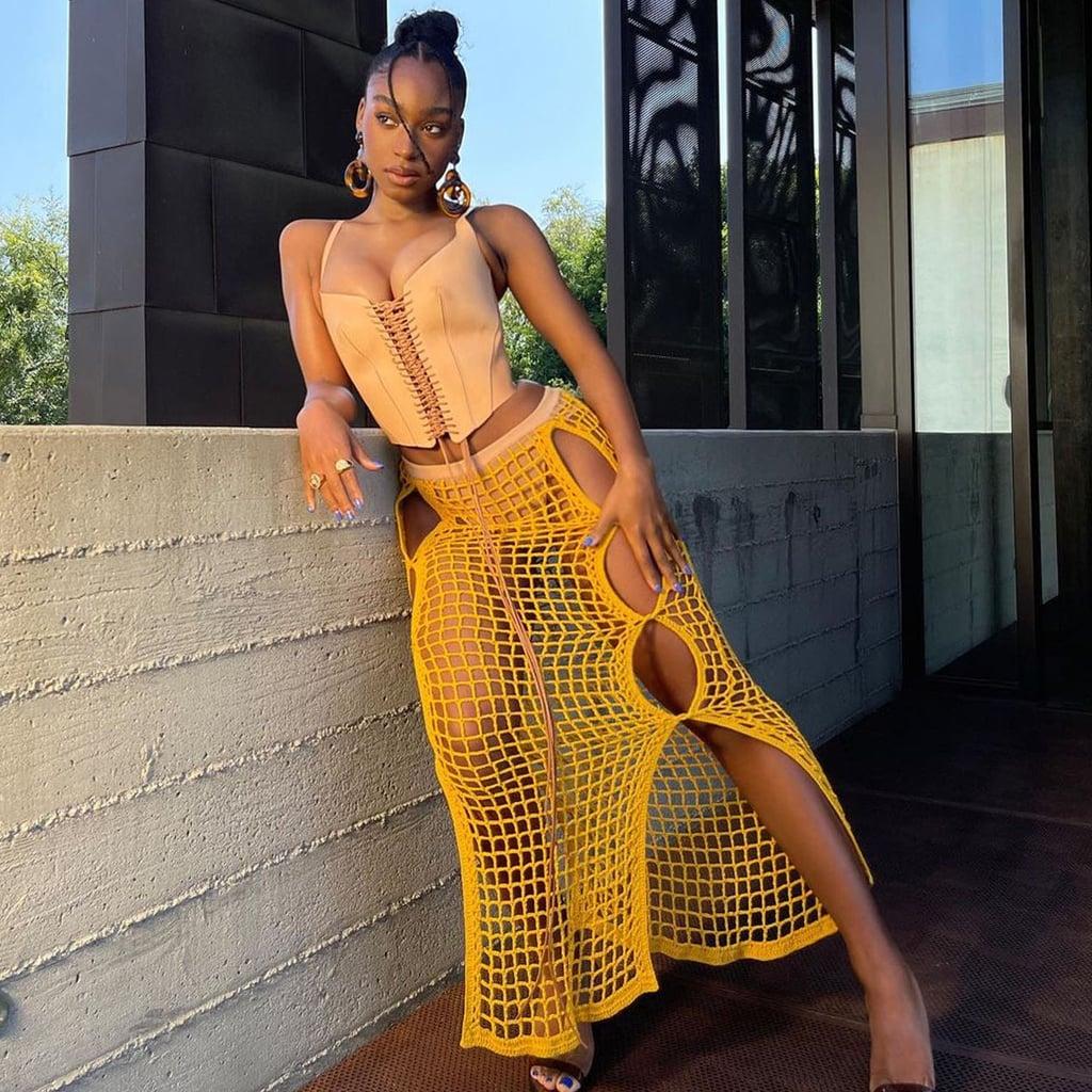 Normani's Dion Lee Chain Crochet Skirt | Instagram