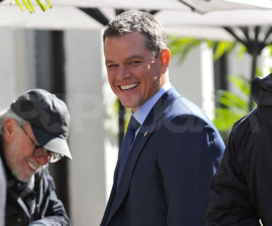 Slide Photo of Matt Damon Smiling on Set of The Adjustment Bureau