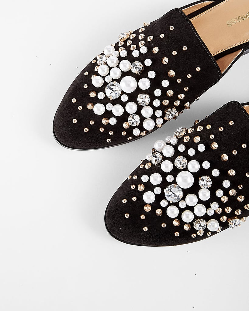 Pearl Studded Slide Loafers