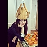 Emmy Rossum donned a turkey hat. Source: Instagram user emmyrossum