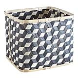 Black and Natural Square Bamboo Basket