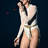 "Miley Cyrus performed ""Wrecking Ball"" at the MTV EMAs."