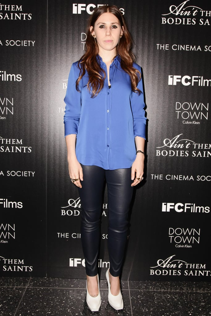 Zosia Mamet paired her leather leggings with a pretty Calvin Klein Collection button-down at the Cinema Society screening of Ain't Them Bodies Saints.