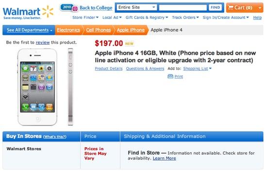 White iPhone 4 on Walmart's Website