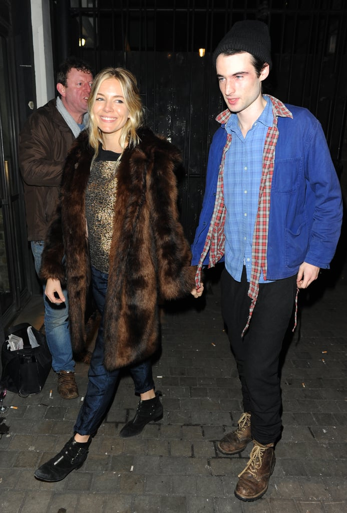 Sienna Miller turned out to root for her fiancé, Tom Sturridge, in London last night. He stars in a production of No Quarter, a new show from 26-year-old playwright Polly Stenham, at the Royal Court Theatre. Tom is one of the show's stars, along with Zoe Boyle, who played Lavinia Swire in the second season of Downton Abbey.  Sienna's back in the UK following a big week in California. Sienna Miller attended the Globes Globes, wearing a dress from British designer Erdem, as a nominee for her HBO movie, The Girl. She wasn't ultimately a winner in the category of best actress in a miniseries or made-for-TV movie, since she was bested by Game Change's Julianne Moore. Nonetheless, Sienna hit the party circuit. She attended Globes hosts Tina Fey and Amy Poehler's afterparty at Soho House along with Robert Pattinson and Kristen Stewart. Now, though, Sienna and her daughter, Marlowe Sturridge, are back home in the UK with dad Tom.