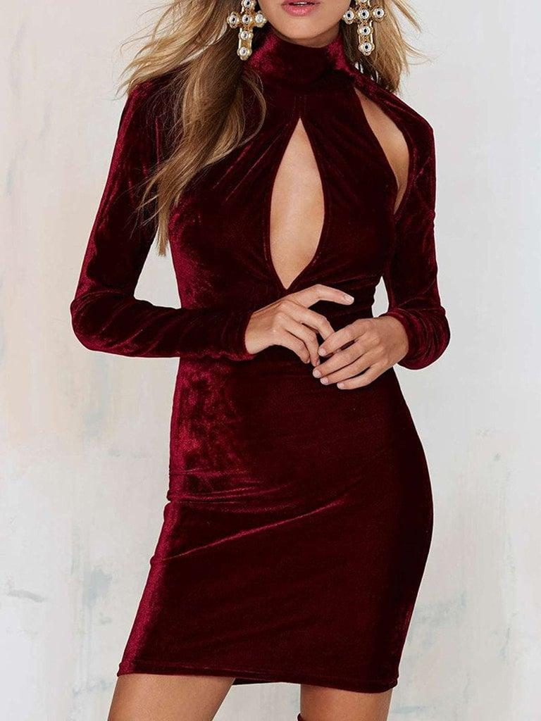 Clothink  Velvet High-Neck Dress