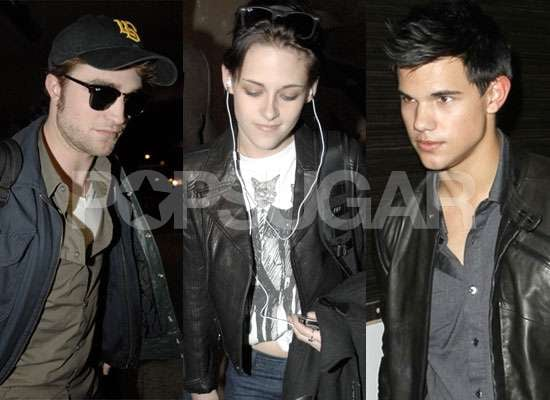 Photos of Robert Pattinson and Kristen Stewart and Taylor Lautner Flying From LA to Paris, Photos of New Moon Cast in LA