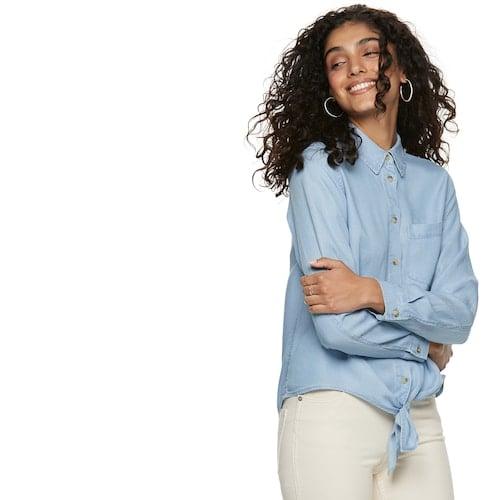 b82132c8 POPSUGAR Knot-Front Button Down Shirt | Summer Tops Under $50 ...