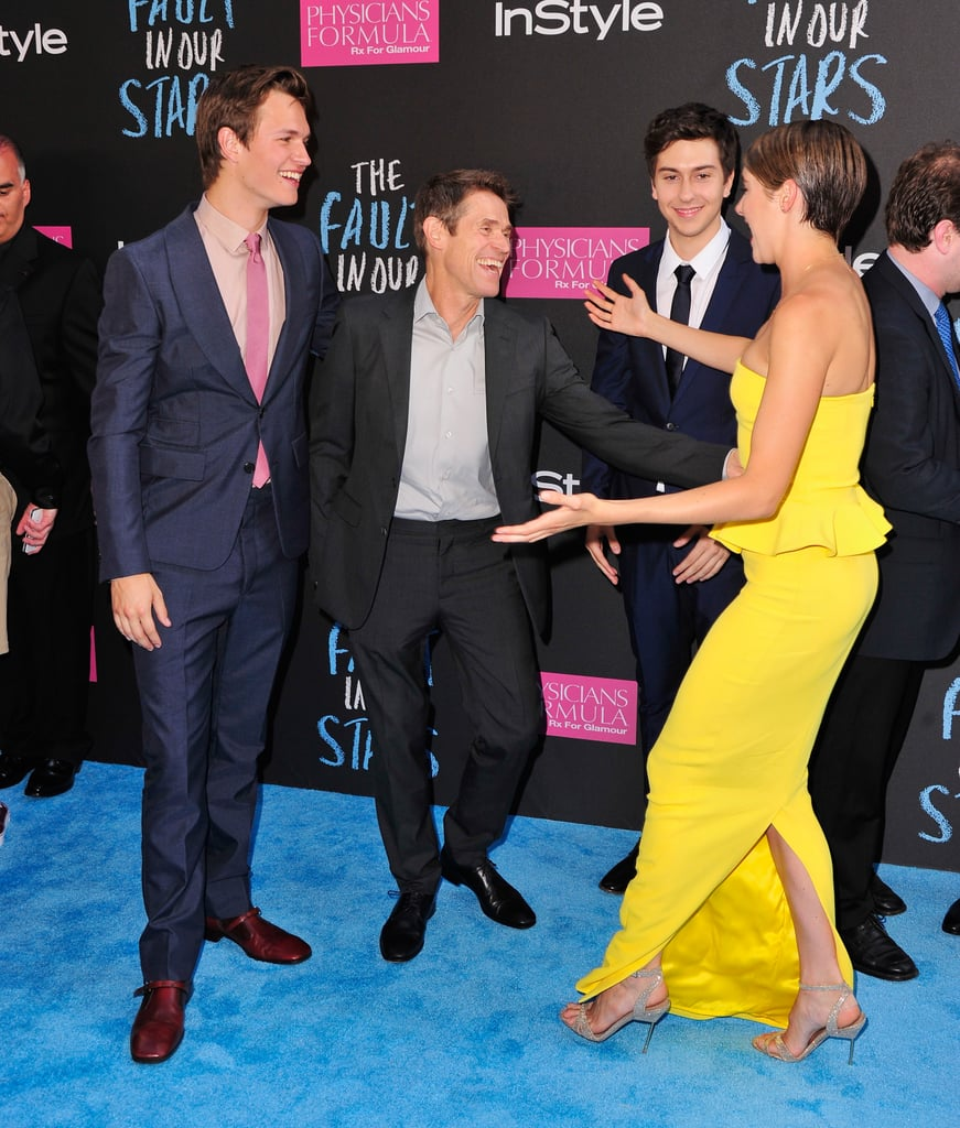 Shailene Woodley made her costars Ansel Elgort, Willem Dafoe, and Nat Wolff laugh.