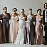 Bridesmaid Dresses in the Same Color Family