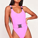 I Saw It First Pink Backless Belted Swimsuit