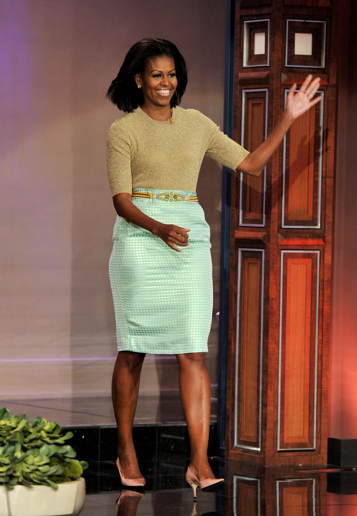 Michelle stopped by The Tonight Show With Jay Leno in a mint-colored J.Crew skirt and a gold-toned Michael Kors top.
