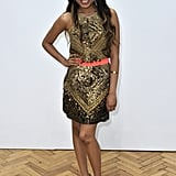 Dionne Bromfield accessorised with a neon blet at Sass & Bide.