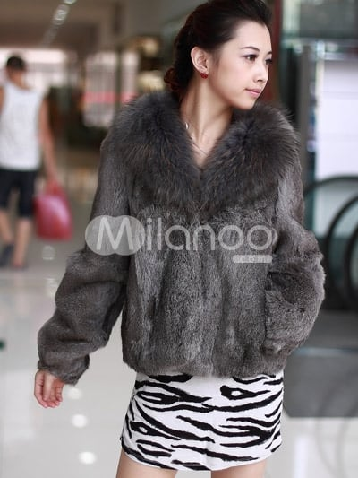 Milanoo Rabbit Fur Coat ($103)