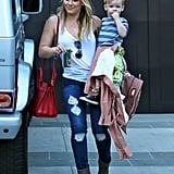Hilary Duff wasn't wearing her wedding ring when she carried Luca in LA on Monday.