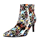 Bamboo Pointy Toe Graffiti Doodle Ankle Booties