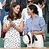 July: Kate bonded with Meghan at the Wimbledon Tennis Championships.