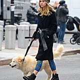 Suki Waterhouse kept it casual for a walk with her dog in New York.