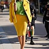 Wear a Mustard Yellow Skirt Suit