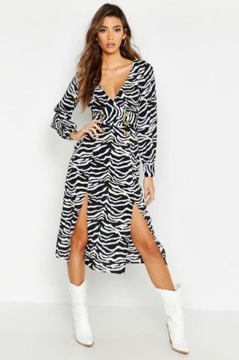 818654db0024 Wrap Front Double Split Zebra Skater Dress ($27, originally $45 ...
