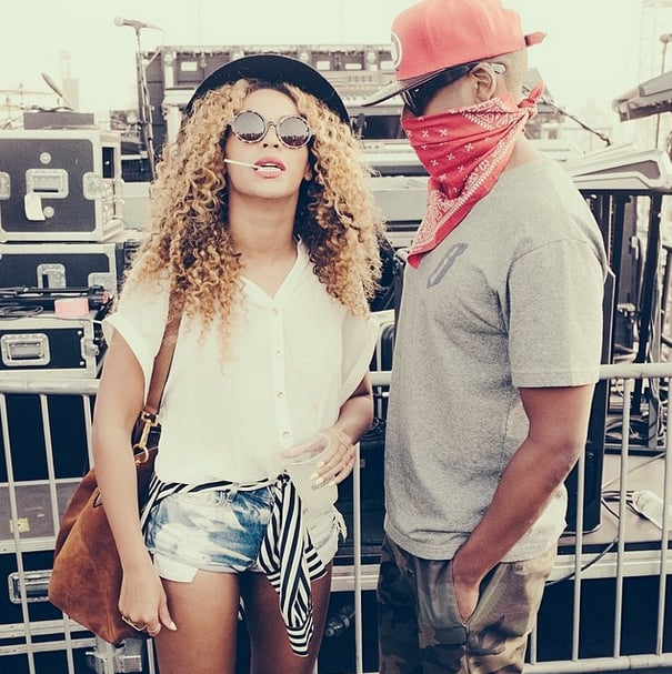 Jay Z protected his face with a red bandanna, matching cap, and black sunglasses. Source: Instagram user beyonce
