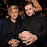 Ellen and Justin made a cute pair when they sat in the front row for the 2014 People's Choice Awards.