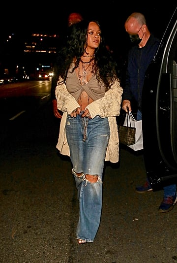 Rihanna Wears a Chunky Cardigan and Baggy Jeans to Dinner
