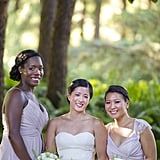 These two bridesmaids wore different styles of light lavender dresses.