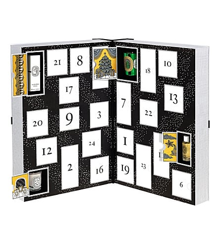 Diptyque (£250) Diptyque have the most luxurious calendar up for grabs this year. The 24 door delight includes travel sized scents, mini candles, and an infused facial water.
