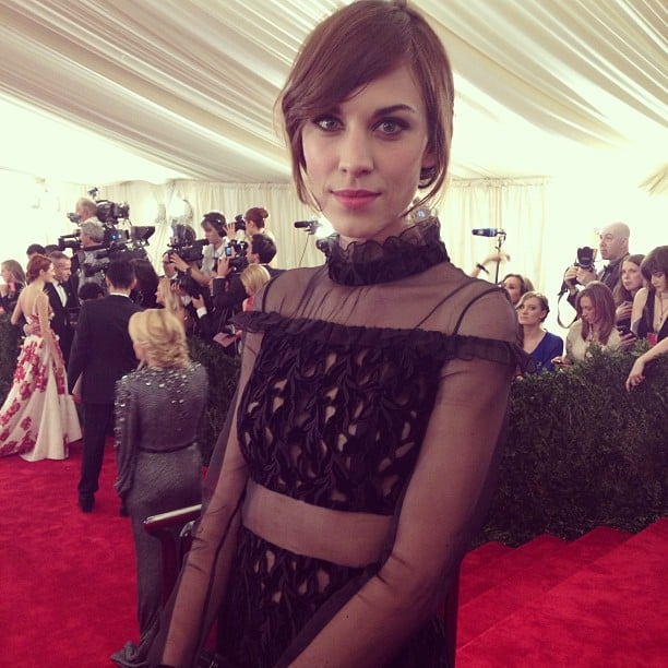 Alexa Chung fused punk and femme in her black Erdem frock. Source: Instagram user vogue