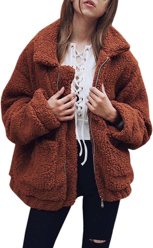 Ecowish Fuzzy Fleece Coat