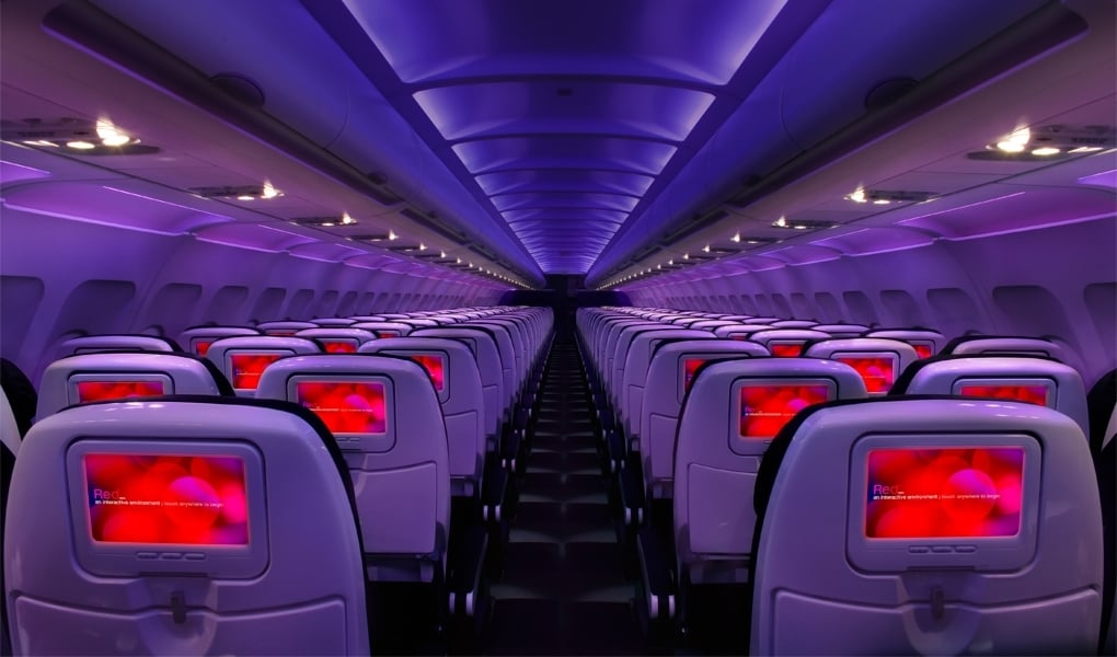 Each plane's mood lighting has 12 shades that adapt to outside light.