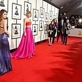 Selena Gomez in Calvin Klein and Taylor Swift in Atelier Versace.