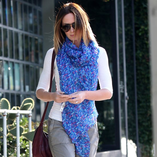 Emily Blunt Wearing Blue Floral Scarf