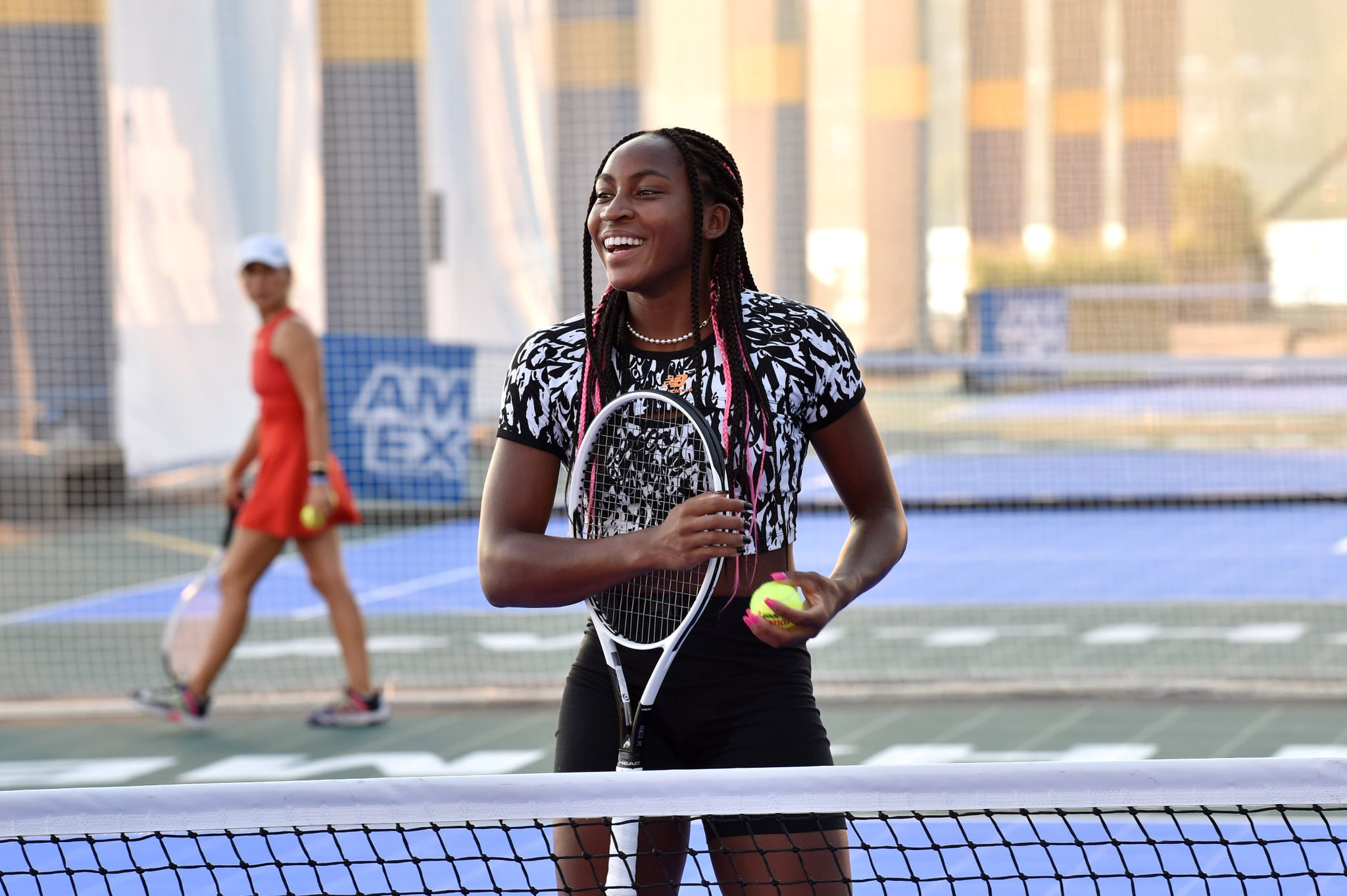 NEW YORK, NEW YORK - AUGUST 24: (EDITORIAL USE ONLY) American tennis player Coco Gauff attends as the American Express Courts are unveiled ahead of 2021 US Open Tennis Tournament at Hudson River Park's Pier 76 on August 24, 2021 in New York City. (Photo by Bryan Bedder/Getty Images for American Express)