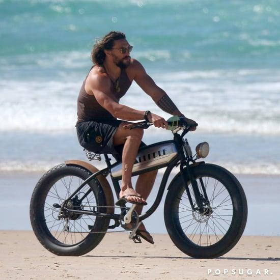 Jason Momoa Riding a Bike in Australia May 2017